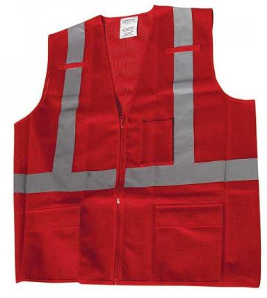 Red Vest Ironwear 1284-RZ-RD Mesh Multi-Pocket Red Safety Vest - Large