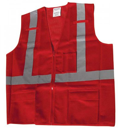 Red Vest Ironwear 1284-RZ-RD Mesh Multi-Pocket Red Safety Vest - X-Large