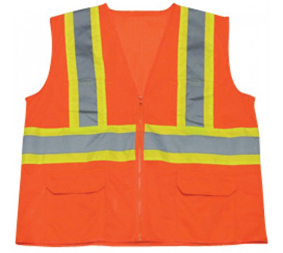 Construction Vest Class 2 Safety Vest Zipper Front High-Vis Orange - Ironwear 1287-OZ - X-Large