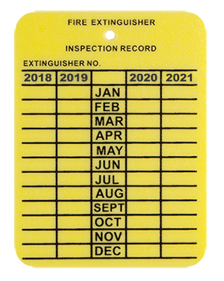 Fire Extinguisher Inspection Tags, Plastic,  4-Year - Years 2018 - 2022