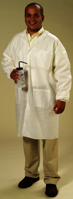 American Health  Safety SMS Disposable Lab Coats Knit Wrists and Collar 3 Pockets White - 30Case - X