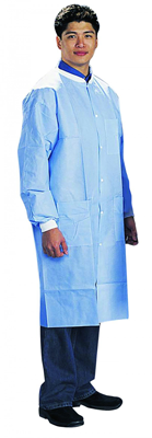 American Health  Safety SMS Disposable Lab Coats Knit Wrists and Collar 3 Pockets Blue- 30Case - Med