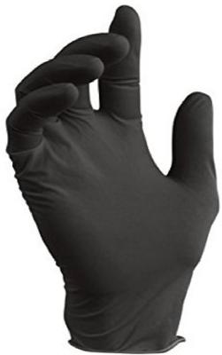 CARE BK9 Textured Disposable Nitrile Exam Gloves Powder-Free 6 mil Black - 1000Case - Large