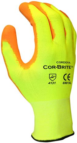 Cordova 6901 Cor-Brite Hi-Vis YellowOrange Palm Coated Gloves - Dozen - Large