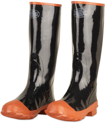 16 Black Cotton Lined Waterproof Rubber Boots