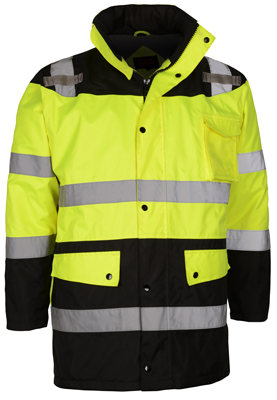 GSS 8501 Class 3 Fleece Lined Waterproof Parka Hi-Vis Lime Yellow and Black - X-Large