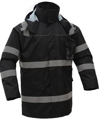 GSS 8509 Hi-Vis Fleece Lined Waterproof Parka Black - 4X-Large