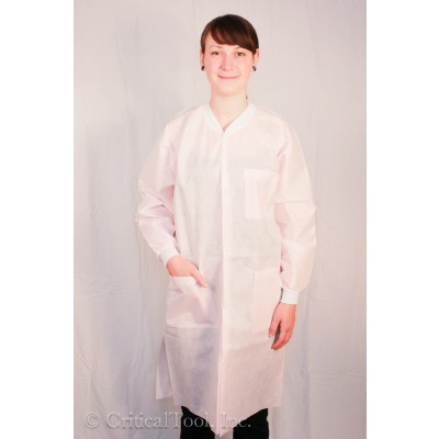 ValuMax ExtraSafe SMS 3 Layer Disposable Lab Coats 3 Pockets Snap Front Knit Collar and Cuffs Light