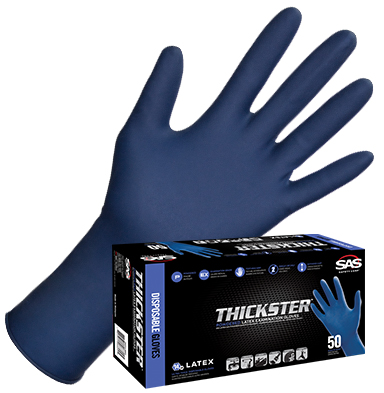 Thickster Gloves SAS Safety Thickster 12 Latex Gloves Powder Free 14 mil - 50Box - X-Large